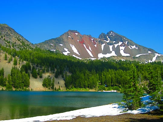Broken Top is seen below the Green Lakes in the Three