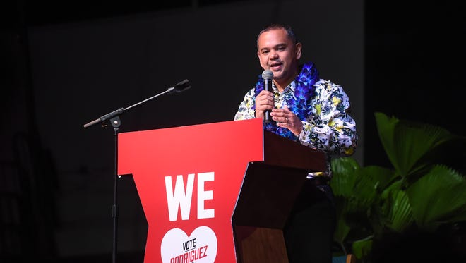 Gubernatorial candidate Sen. Dennis Rodriguez, Jr. gives his response to a question during the One Guam Toward Decolonization Gubernatorial Debate at the University of Guam Calvo Field House on May 8, 2018.