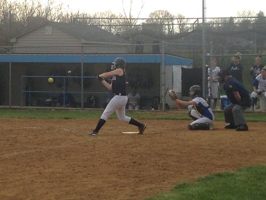 Chambersburg's Tara Harmon takes a swing at the ball