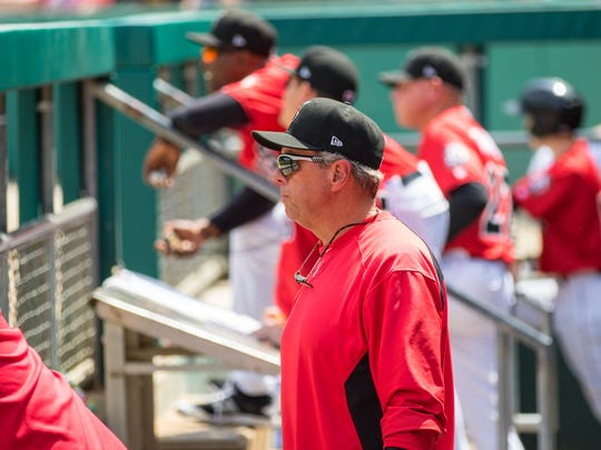 Red Lion High School graduate Butch Wynegar is currently hitting coach for the Indianapolis Indians. Here, he watches his team from the dugout.