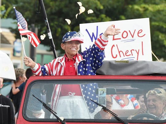 Cheryl Blackman, a local celebrity, was given a parade around downtown Rehoboth Beach on Wednesday, July 13 with many local well wishers on hand to see and greet her as she deals with terminal health issues. Blackman was always around selling chances for KINfolk and many other organizations, always dressed for the occasion during holidays.