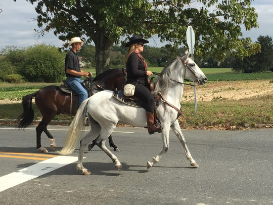 Riders atop two Paso Fino horses ride in the funeral