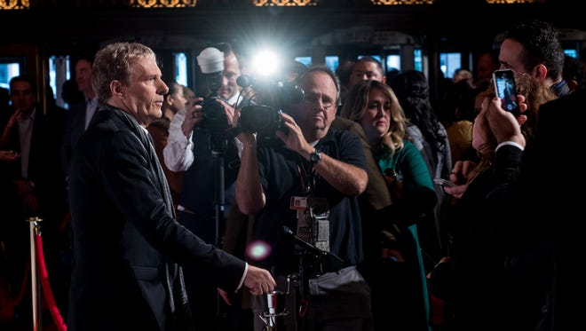 """Grammy Award winning singer-songwriter Michael Bolton answers questions from the media and guests before the exclusive sneak peak screen of his upcoming documentary """" Gotta Keep Dreaming,""""  a film about the resurgence of Detroit, on Friday, Oct. 2, 2015, at the Fox Theatre in Detroit."""