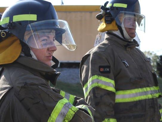 Clarksville Fire Rescue recruit Ashley Beashear looks