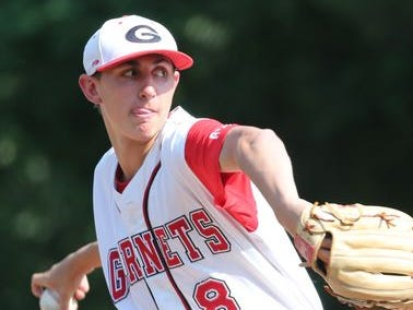 Rye's George Kirby pitches against John Jay during their Class A baseball semifinal at Disbrow Park in Rye, May 27, 2015. Rye beat John Jay, 6-3