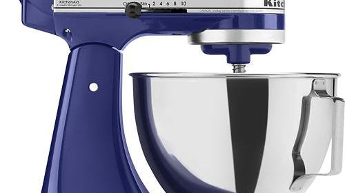 Create an impact with cobalt accessories. KitchenAid tilt-head standing mixer, $329.99 at Best Buy.