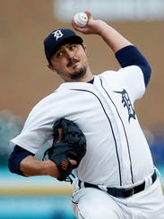 Detroit Tigers' Blaine Hardy pitches against the Toronto