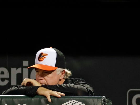 Baltimore Orioles manager Buck Showalter stands in the dugout in the ninth inning of a baseball game against the Boston Red Sox in Baltimore, Wednesday, Sept. 21, 2016. Boston won 5-1. (AP Photo/Patrick Semansky)