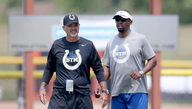 Indianapolis Colts head coach Chuck Pagano,left, talks with offensive coordinator Pep Hamilton,right, on the third day of Training Camp Saturday July 26, 2014, afternoon at Anderson University. Matt Kryger / The Star