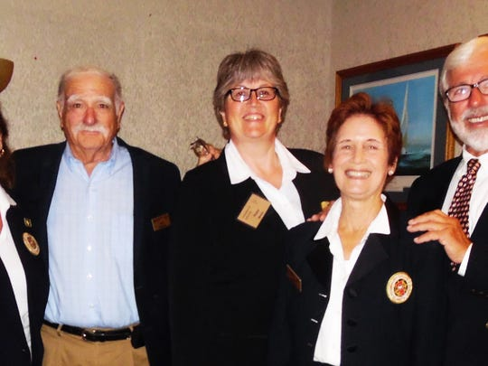 Sailing Association of Marco Island -recently held their 48th Annual Change of Watch. From left, Vice Commodore Micki Gobeil, Commodore Ken Bardon, Treasurer Fiona Winter, Secretary Leigh Breeden, and Fleet Captain Rob Reiley. Also appointed, but not in photo, is Rear Commodore Peter Coggins.