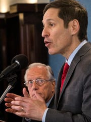 Dr. Thomas Frieden, director of the Centers for Disease Control and Prevention, speaks Sept. 18, 2014, at the National Press Club in Washington.