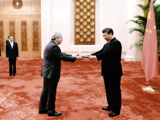 Amb. Terry Branstad Presents his credentials to Chinese