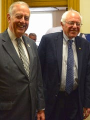Bernie Sanders and Mayor Bill Gluba exit the mayor's office after a coffee sit-down at City Hall in Davenport, Iowa, on Friday morning, May 29, 2015.
