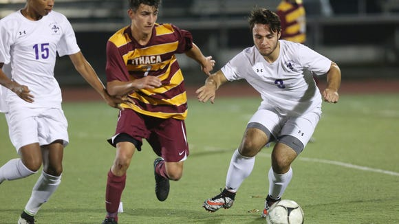 New Rochelle and Ithaca in the boys soccer regional