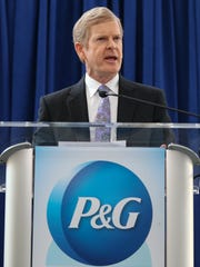 P&G CEO David Taylor answers questions at a news conference in 2017.