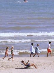 Beachgoers on North Beach in Sheboygan.
