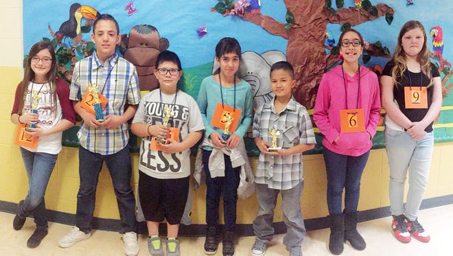 """Hurley Elementary held its annual Spanish Spelling Bee with students from grades 3-6 participating. Spelling the Championship word """"ornamento"""" correctly was sixth-grader Emily Esqueda. Placing second was sixth-grader Elijah Ogas, in third place was fourth-grader Adrian Lucero, in fourth place was fifth-grader Lillianna Lamoreaux, and placing fifth was fourth-grader Michael Lozano. The students will representing Hurley Elementary School in the Cobre District Spanish Spelling Bee on March 1. Alternates were Madelyn Reyes and Mikayla Dees."""