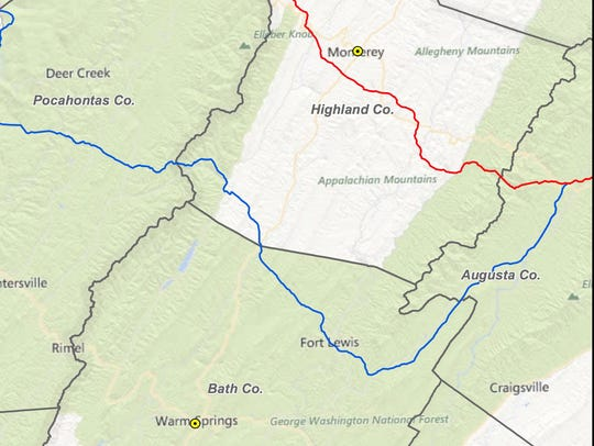 The filed route for a natural-gas pipeline through