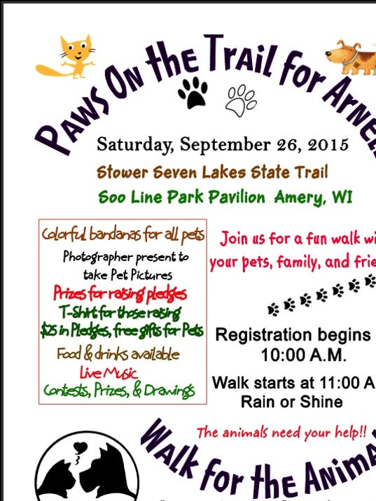 paws on the trail benefits arnell memorial humane society