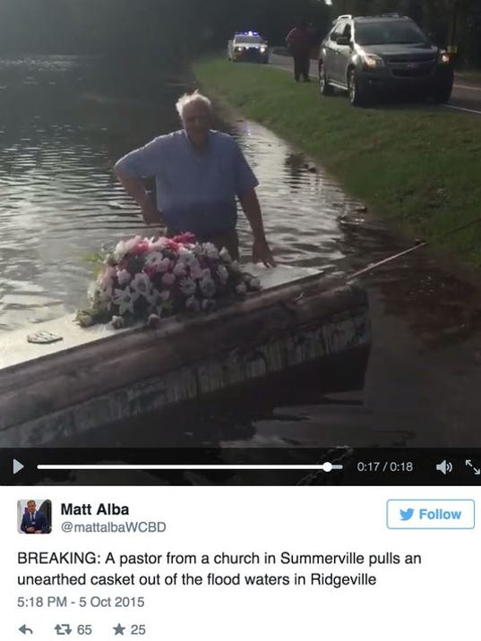 Pastor Pulls Casket From SC Floodwaters