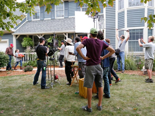 A production company shoots a commercial for Orville Redenbacher popcorn Friday, October 7, 2016, in the University Farms subdivision in West Lafayette. The home selected for the shoot belongs to West Lafayette Community School Corp. Superintendent Rocky Killion. Killion said he received a cold call from a location scout wanting to know if the production company could shoot the commercial at his home.