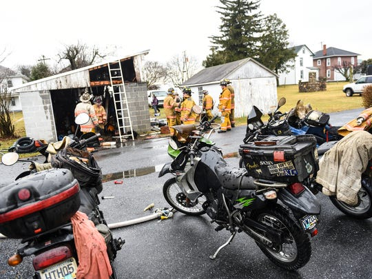 Fire crews responded to a garage fire in Richland Borough the morning of Wednesday, Jan. 18, 2017. The garage located at 19 Chestnut St. sustained severe damage that contained at least six motorcycles.