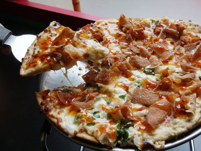The Crab Rangoon pizza at Fong's in Des Moines.