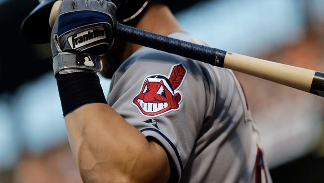 The Indians Chief Whoo logo on a jersey.