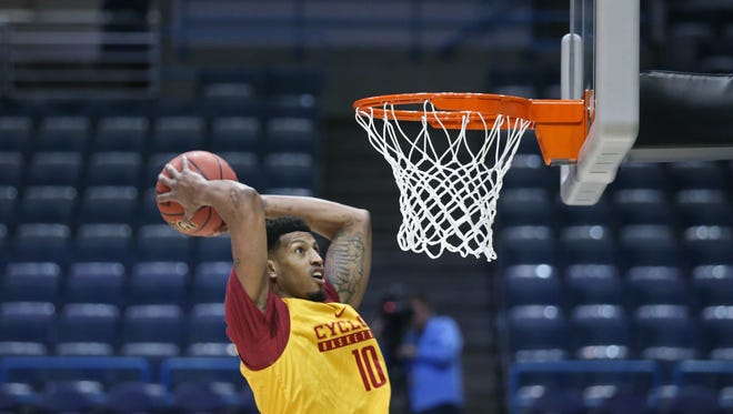 Iowa State's Darrell Bowie dunks the ball during Iowa State's NCAA Tournament open practice on Wednesday, March 15, 2017, at the BMO Harris Bradley Center in Milwaukee.