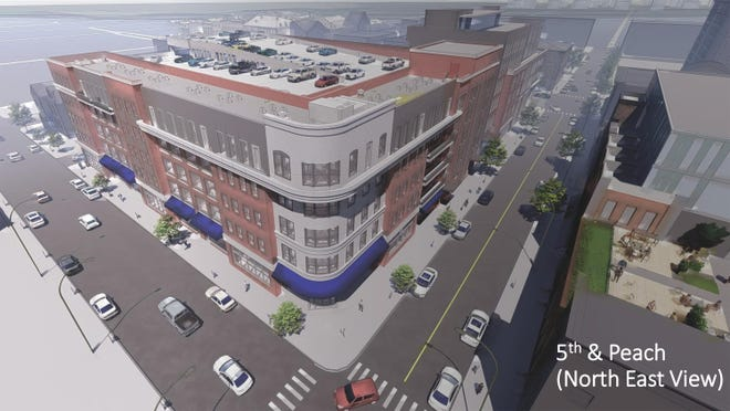 This is an architect's rendering of a 50,000-square-foot to 60,000-square-foot mixed-use building that will hide from view a new parking garage that will also be built on the northeast corner of Peach and West Fifth streets in downtown Erie. The Erie Downtown Development Corp. has agreed to pay $1 million to buy from Gannon University a parking lot on this corner, which is just west of the former McDonald's restaurant.