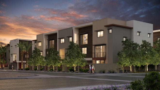 A rendering shows a 27-townhouse development called Aerium in downtown Scottsdale. Construction on the project began today.