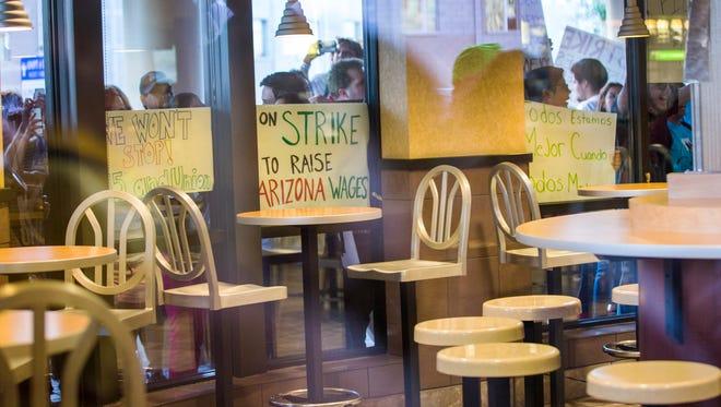 Minimum wage protestes outside McDonalds near ASU last year.