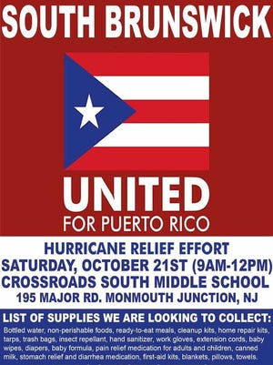 The South Brunswick school-community will hold a relief effort benefiting survivors of Hurricane Maria in Puerto Rico.