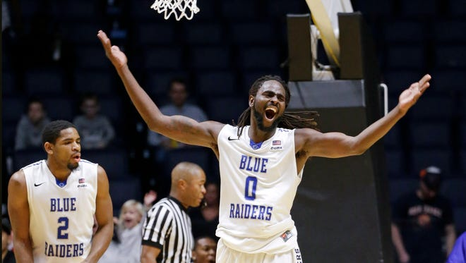 Middle Tennessee forward Darnell Harris celebrates after beating Auburn 88-81 in overtime of an NCAA college basketball game Saturday, Dec. 12, 2015, in Nashville, Tenn.