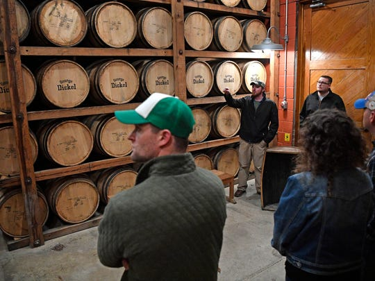 Kyle Pyrdom leads a tour of Cascade Hollow Distilling Co., formerly the George Dickel Distillery, on March 30, 2018, in Tullahoma, Tenn.