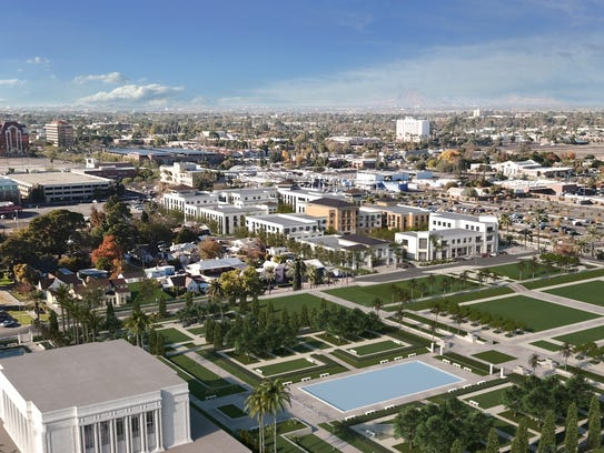 An aerial view of the planned redevelopment around