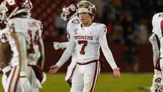 Oklahoma quarterback Spencer Rattler reacts after throwing an interception during the Sooners' 37-30 loss to Iowa State Saturday in Ames, Iowa. It marked the first time Oklahoma has lost back-to-back regular-season games since 1999.