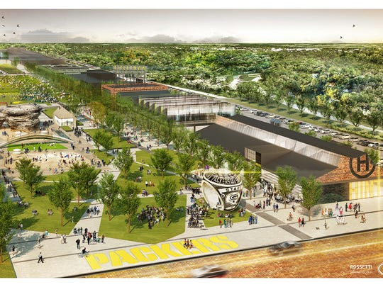 An artist's rendering shows a summer scene in the Titletown District with the public plaza and Hinterland brewery.