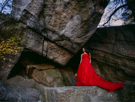 Custom red drop waist textured tulle ball gown by Nick