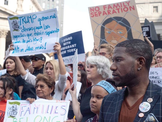 Jumaane Williams joins immigration rights advocates in New York City to protest Trump's policies to separate families at the boarder in June.