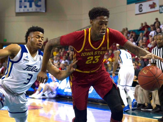 Iowa State Cyclones forward Zoran Talley Jr. (23) loses