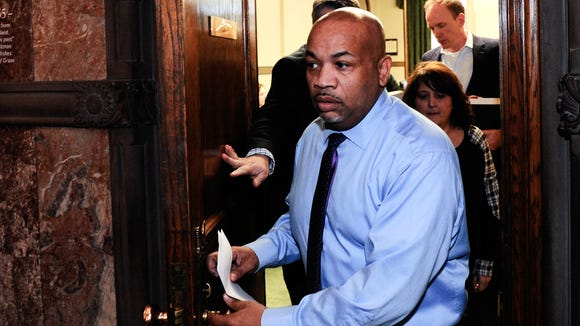 New York Assembly Speaker Carl Heastie, D-Bronx, leaves Gov. Andrew Cuomo's office as legislative leaders work on the state budget at the state Capitol, Sunday, April 2, 2017, in Albany, N.Y.