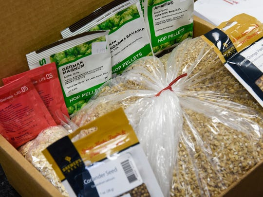 Grain, hops, yeast and spices are assembled for a Beaver Island Brewing River Hopper Expedition beer recipe Monday, April 2, at The Hop Shop in St. Cloud.