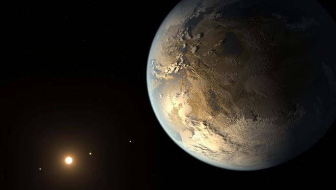 This artist's concept depicts Kepler-186f, the first validated Earth-size planet to orbit a distant star in the habitable zone -- a range of distance from a star where liquid water might pool on the planet's surface. Scientists have now discovered an even closer match to Earth's conditions for supporting possible life.