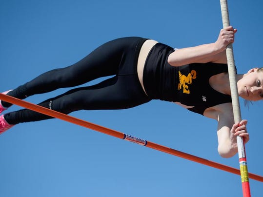 Delone Catholic's Grace Riedel finished sixth in the Class AA pole vault at the PIAA track and field championships Friday at Shippensburg University.