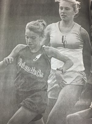 Emily Sheffer competed in the girls 1600-meter run at the state track meet in June 2001.