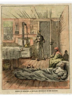 Howard physician treating yellow fever patients in 1878