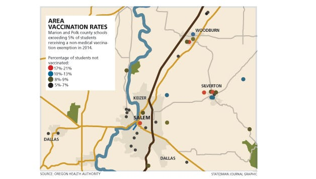 Area vaccination map