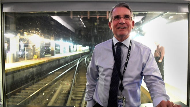 """Amtrak CEO Charles """"Wick"""" Moorman photographed on a Northeast Corridor train underneath New York Penn Station on Wednesday, April 19, 2017."""