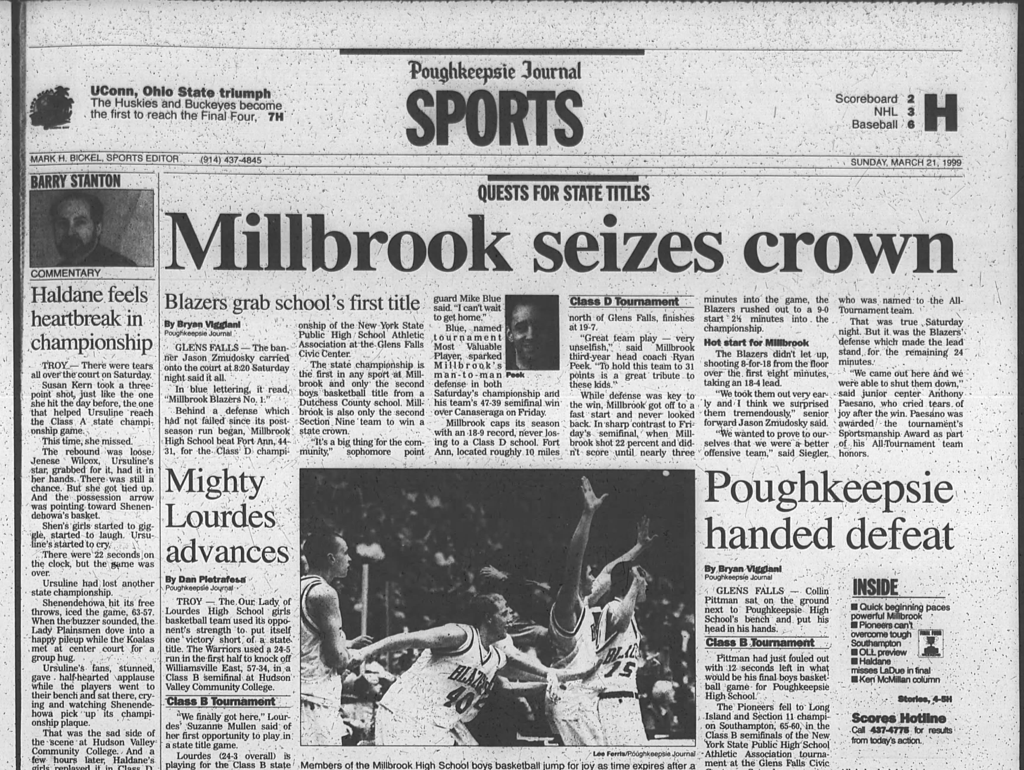 Millbrook High School's New York State Class D championship led the Journal's Sports cover on March 21, 1999.
